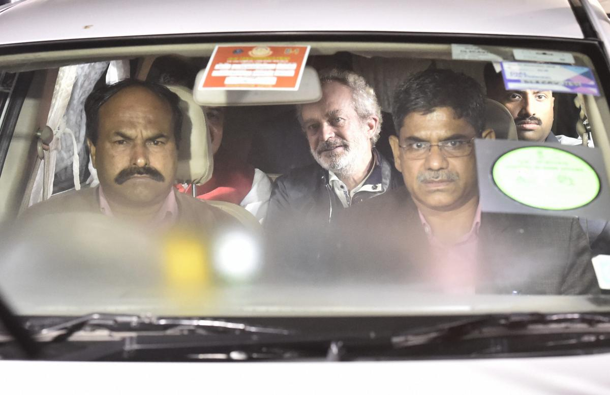 Agusta Westland scam accused middleman Michel Christian at CBI headquarters in New Delhi on early Wednesday. PTI photo