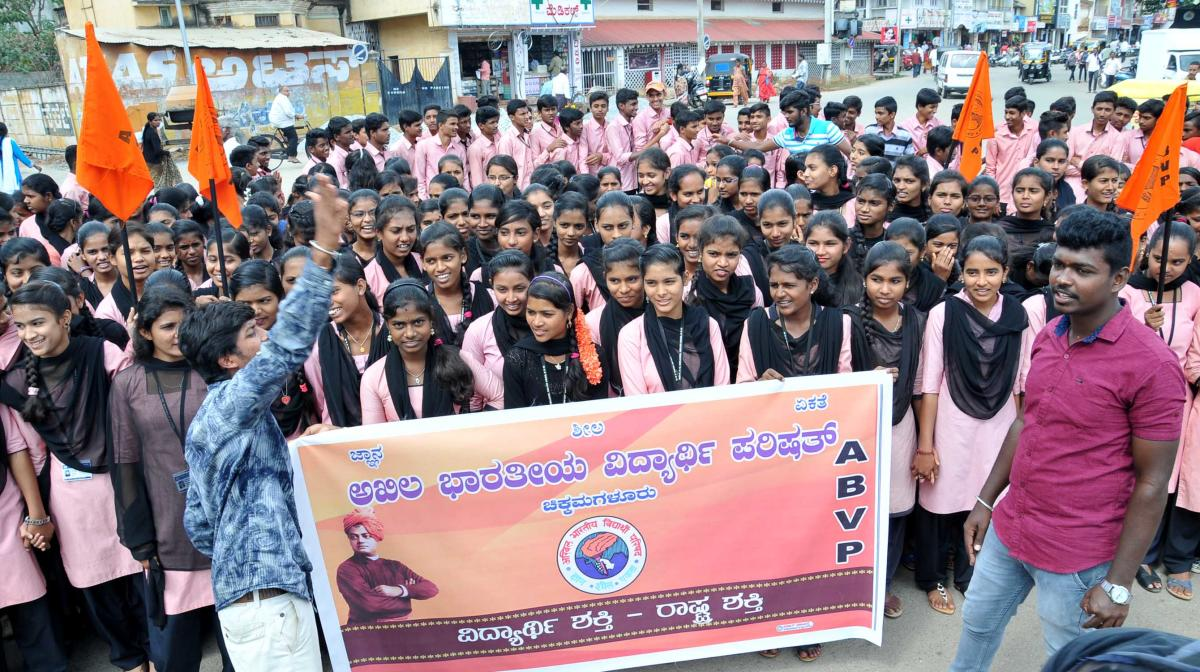 ABVP members stage a protest in Chikkamagaluru on Wednesday.