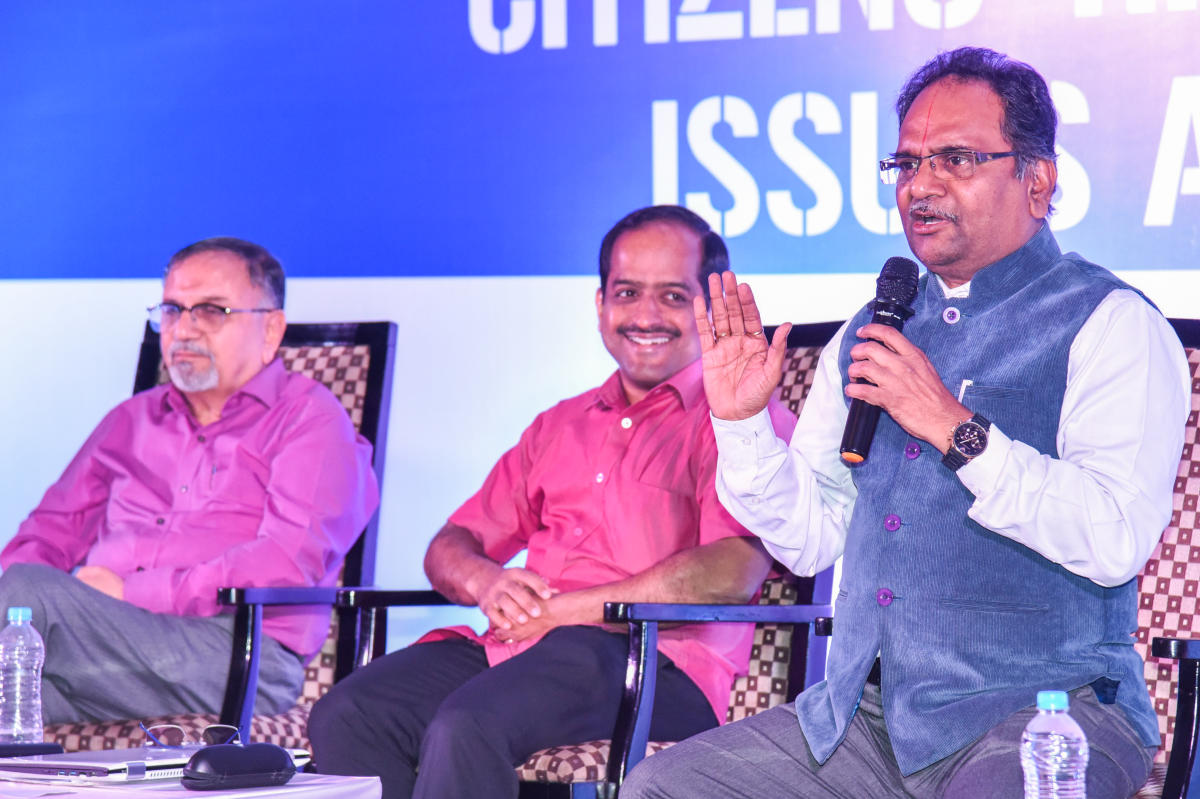 Sridhar Acharyulu, Information Commissioner, speaks in a DH event.