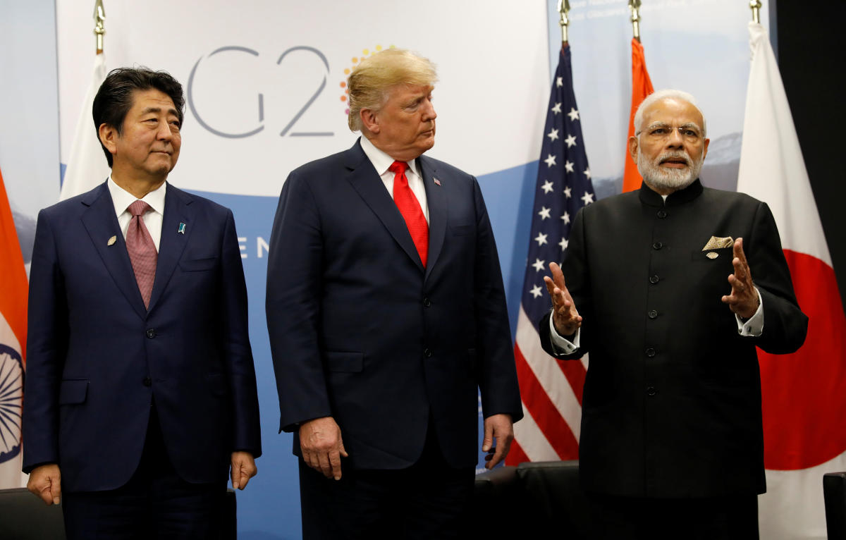 US President Donald Trump meets Japanese Prime Minister Shinzo Abe and Prime Minister Narendra Modi during the G20 leaders summit in Buenos Aires, Argentina. REUTERS