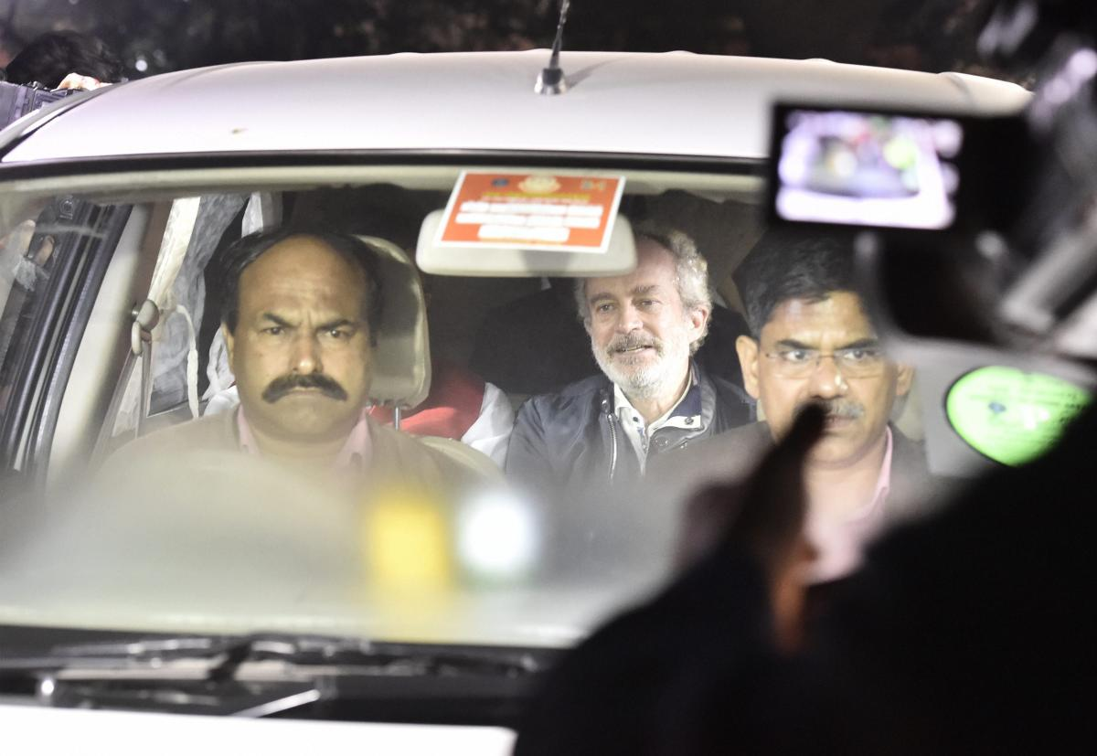 Agusta Westland scam accused middleman Michel Christian at CBI headquarters in New Delhi, on early Wednesday. PTI Photo