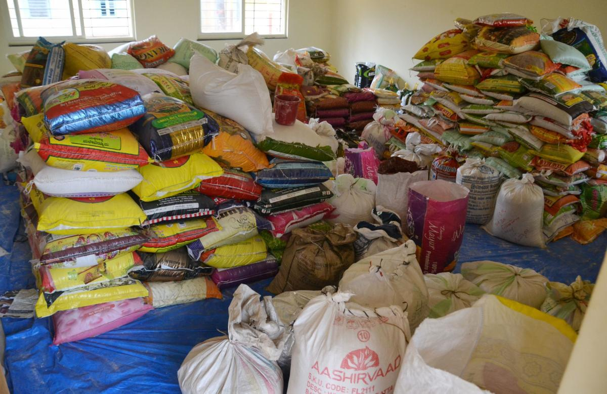 Sacks of rice stored in one of the rooms of government PU College in Madikeri.