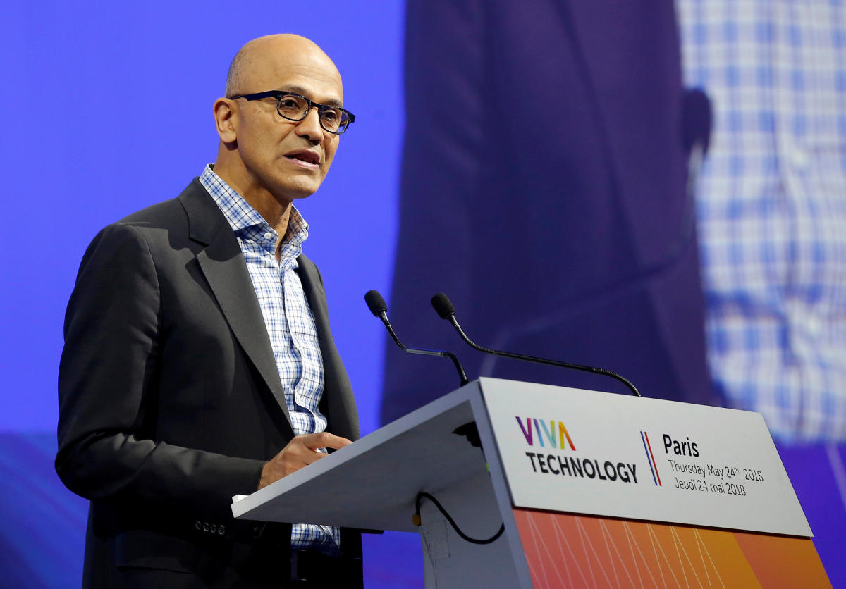 Microsoft CEO Satya Nadella speaks during the opening of the Viva Tech start-up and technology summit in Paris. AFP file photo.