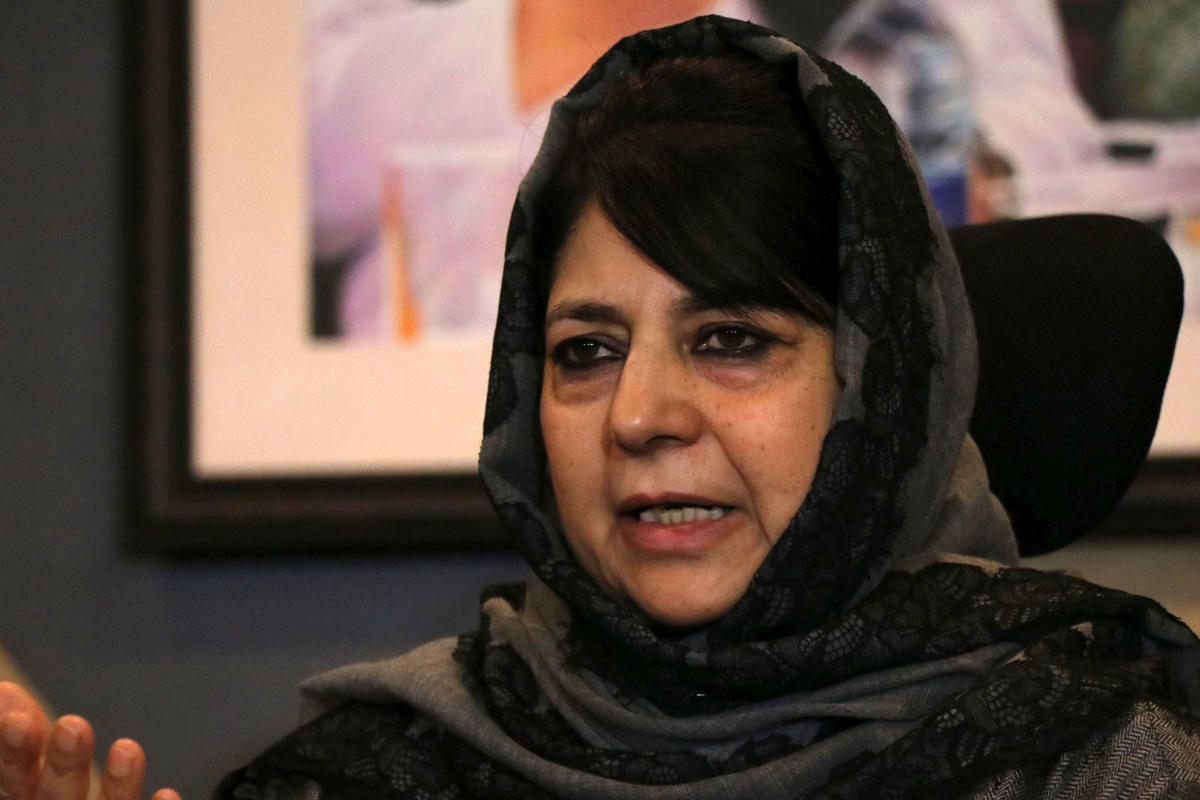 Mehbooba Mufti, PDP president and former chief minister of Jammu and Kashmir, addressing a press conference in Srinagar on Friday. Photo by Umer Asif