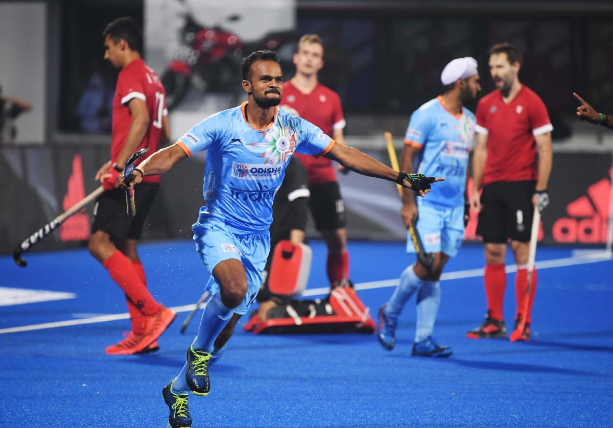 India's Lalit Upadhyay celebrates after scoring a goal against Canada during the field hockey group stage match between India and Canada at the 2018 Hockey World Cup in Bhubaneswar. AFP photo