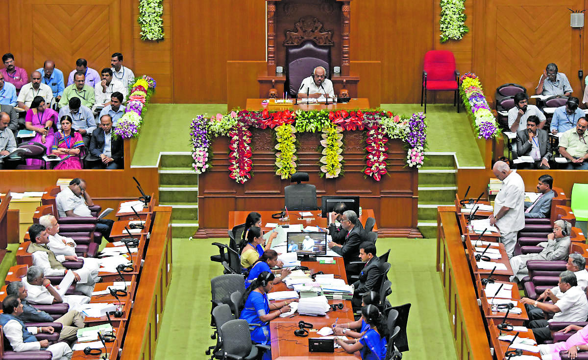 Leader of Opposition in Assembly B S Yeddyurappa speaks on the inaugural day of the Winter Session of Legislature at Suvarna Vidhana Soudha in Belagavi on Monday. DH PHOTO