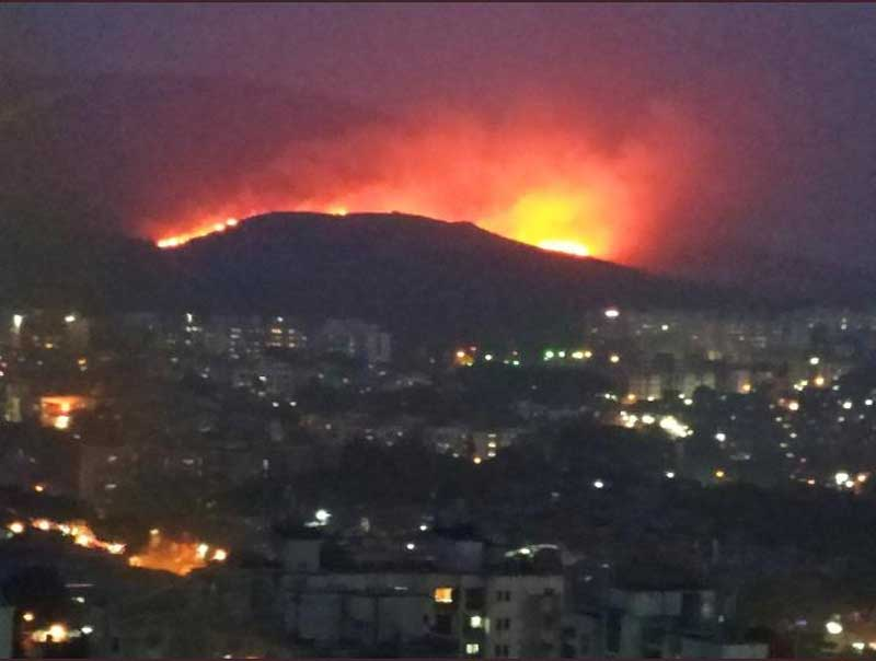 The fire could be seen from several kilometres away and so far, no casualties have been reported.