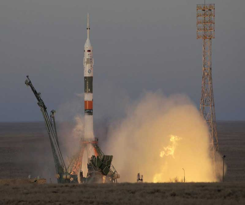 The Soyuz-FG rocket booster with Soyuz MS-11 space ship carrying a new crew to the International Space Station, ISS, blasts off at the Russian leased Baikonur cosmodrome, Kazakhstan, Monday, Dec. 3, 2018. The Russian rocket carries U.S. astronaut Anne McClain, Russian cosmonaut –ûleg Kononenko'Äé and CSA astronaut David Saint Jacques. AP/PTI