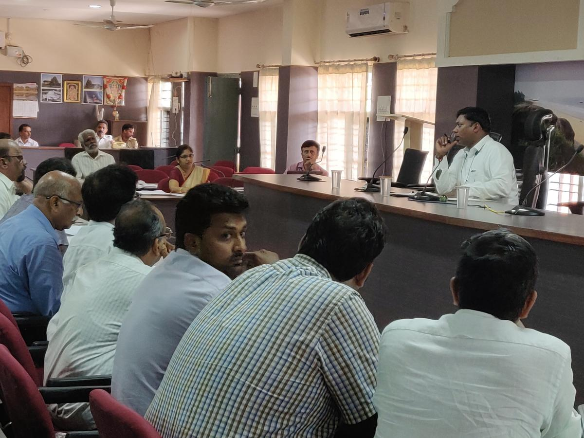 Deputy Commissioner Sasikanth Senthil listens to industrialists during a district-level meeting at his office in Mangaluru on Friday.