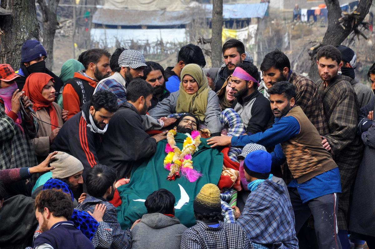 People grieve during the funeral of Al- badr Millitants Nawaz Ahmad Wagay in Reban, Shopian. (DH Photo/Umer Asif)