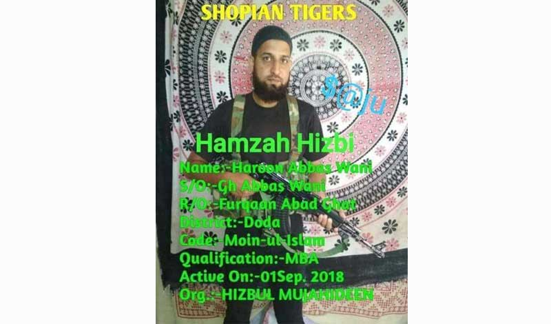 The picture of Haroon Abbas Wani with an AK-47 rifle has gone viral on social media recently, indicating his joining the terror group on Saturday. Wani is a resident of Ghat area of Doda district and a master of business administration degree holder from Shri Mata Vaishno Devi University, Katra. Picture courtesy Twitter