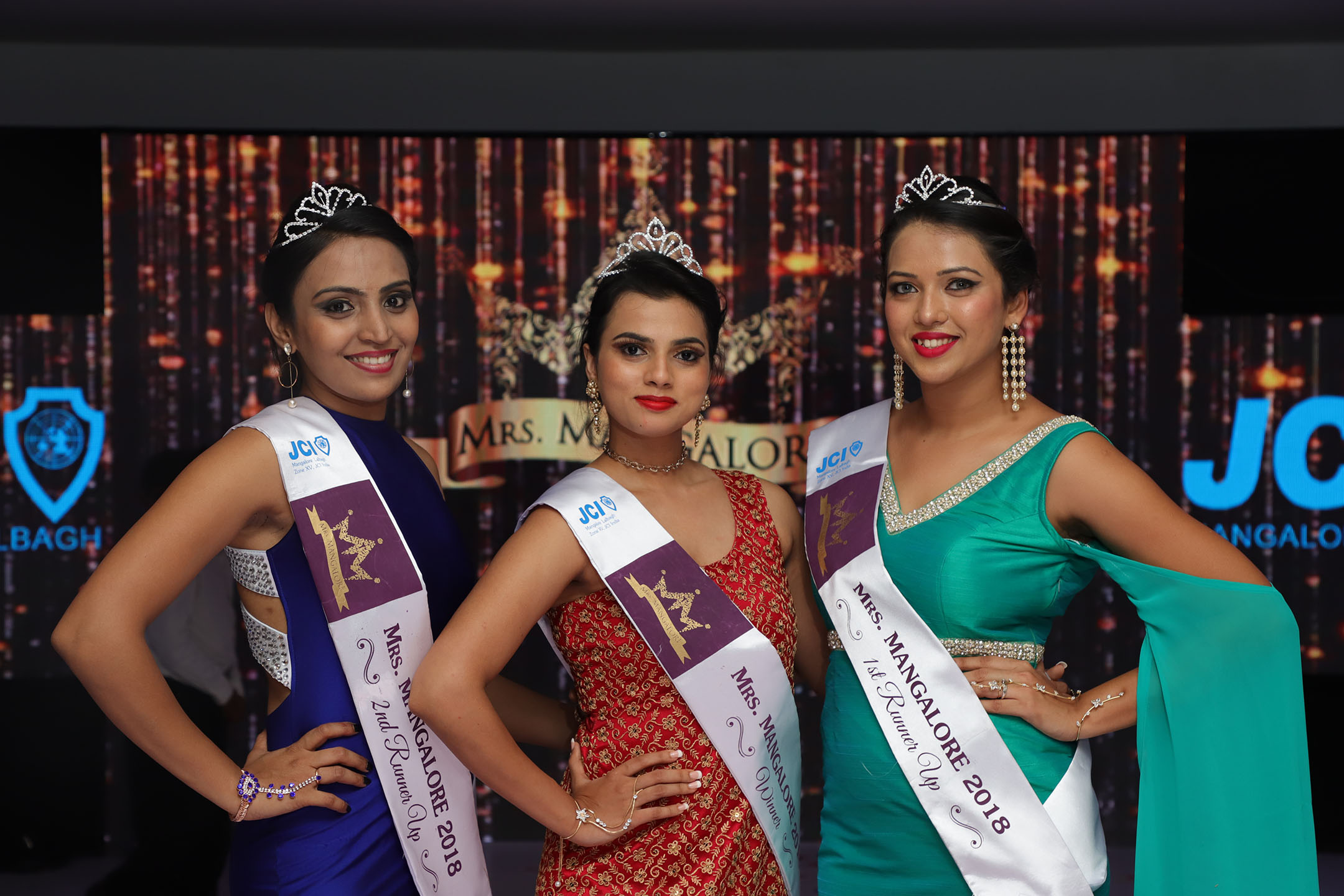 Sudheeksha Kiran, who was crowned Mrs Mangalore 2018, flanked by Hera Pinto and Angelita Lewis who won the first and second runners-up titles respectively.