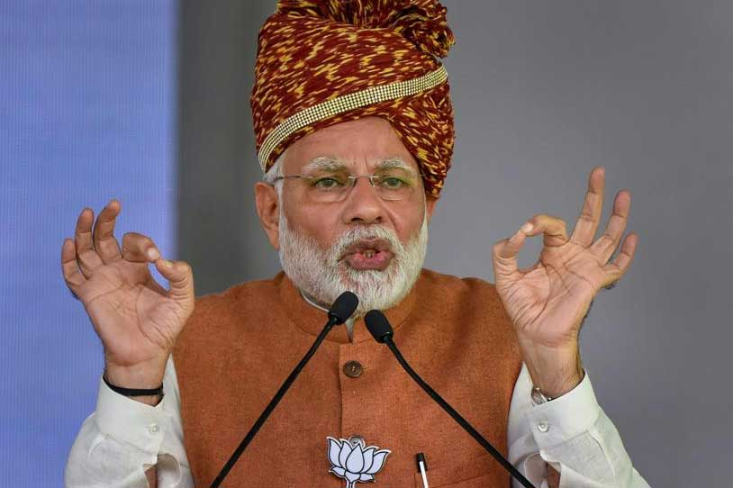 Prime Minister Narendra Modi on Tuesday latched onto Congress chief Rahul Gandhi's 'Bharat Mata Ki Jai' barb at him, saying he would recite the slogan ten times in the presence of lakhs of people. PTI photo