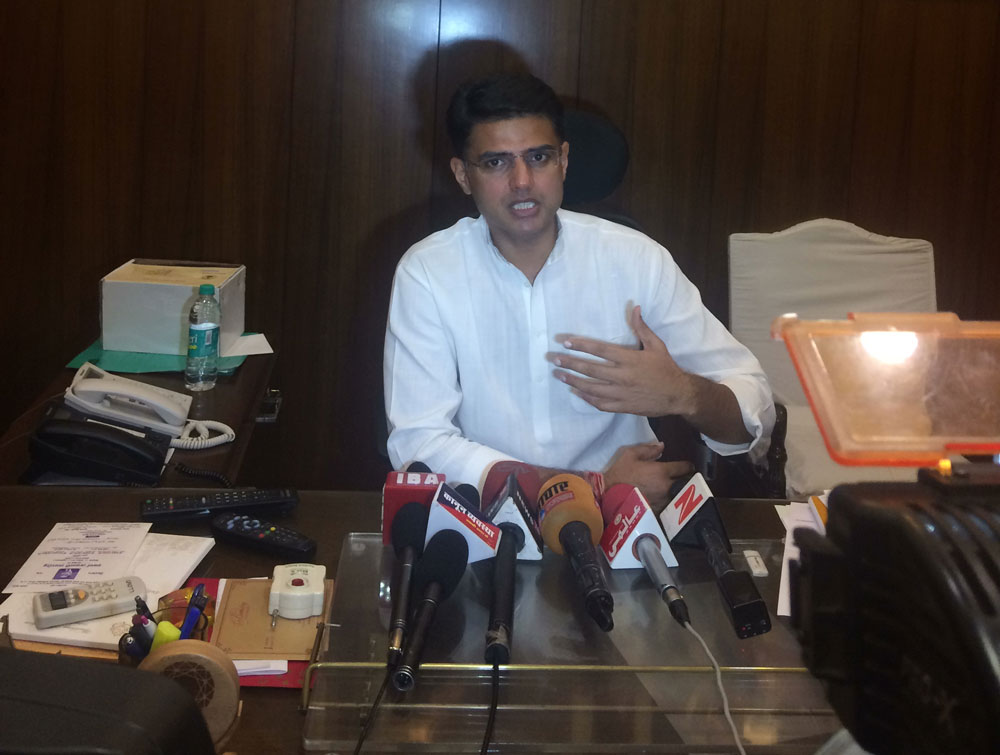 State Congress president Sachin Pilot told DH on Wednesday that the party will be taking out rally in all seven divisional headquarters, starting from August 23 in Chittorgarh to connect with the public. (DH Photo)