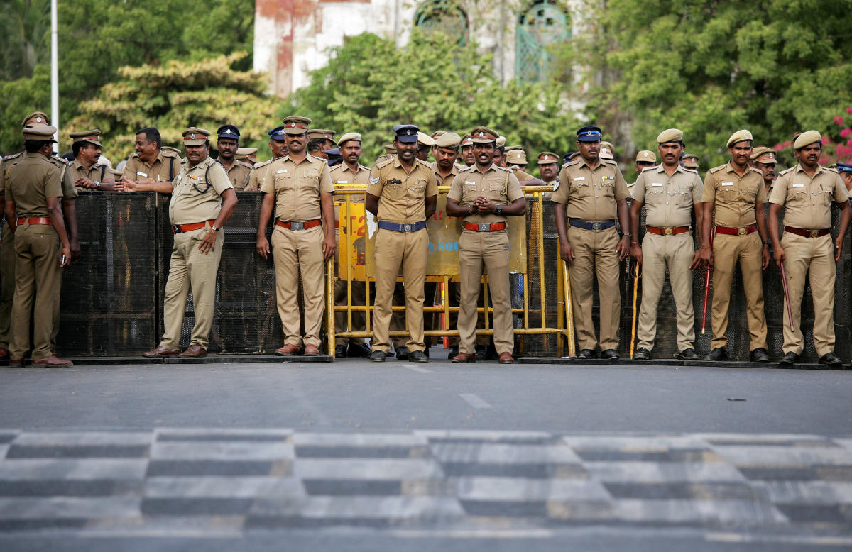 Policemen stand guard ahead of a protest, after at least 13 people were killed when police fired on protesters seeking closure of plant on environmental grounds in town of Thoothukudi in Tamil Nadu. REUTERS
