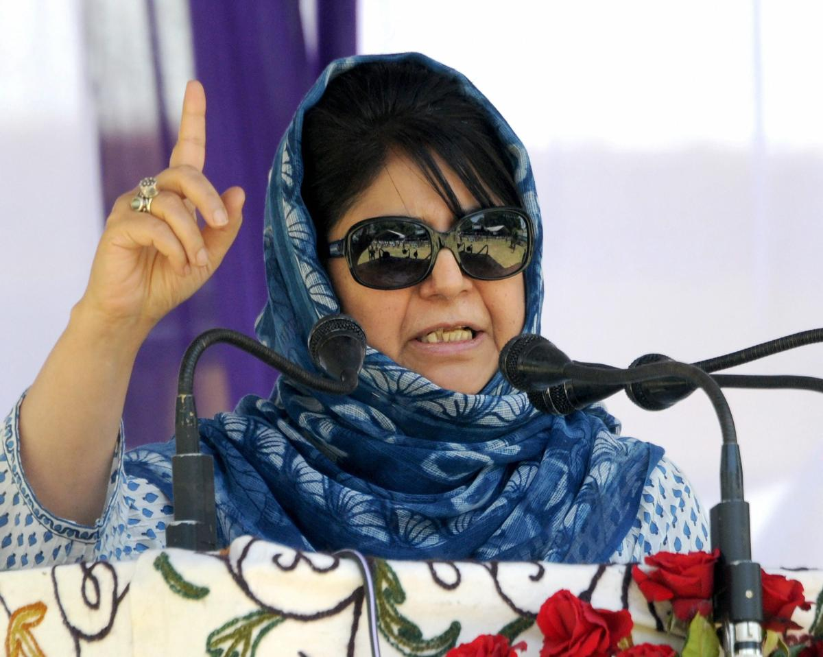 Jammu and Kashmir Chief Minister Mehbooba Mufti addresses a party worker's rally, in Srinagar, on Sunday. PTI