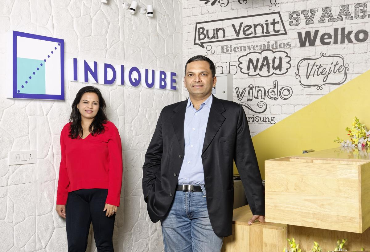 Bengaluru-based workspace solution provider IndiQube founders Rishi Das (R) and Meghna Agarwal.