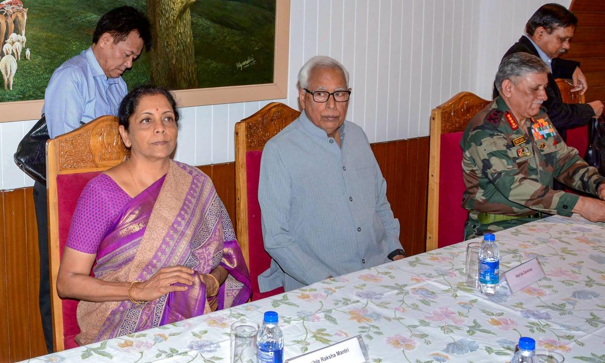 Srinagar: J & K Governor N N Vohra and Union Defence Minister Nirmala Sitharaman at a high-level meeting held to review the security, at the Raj Bhavan in Srinagar on Monday, June 25, 2018. (PTI Photo)(PTI6_25_2018_000237B)