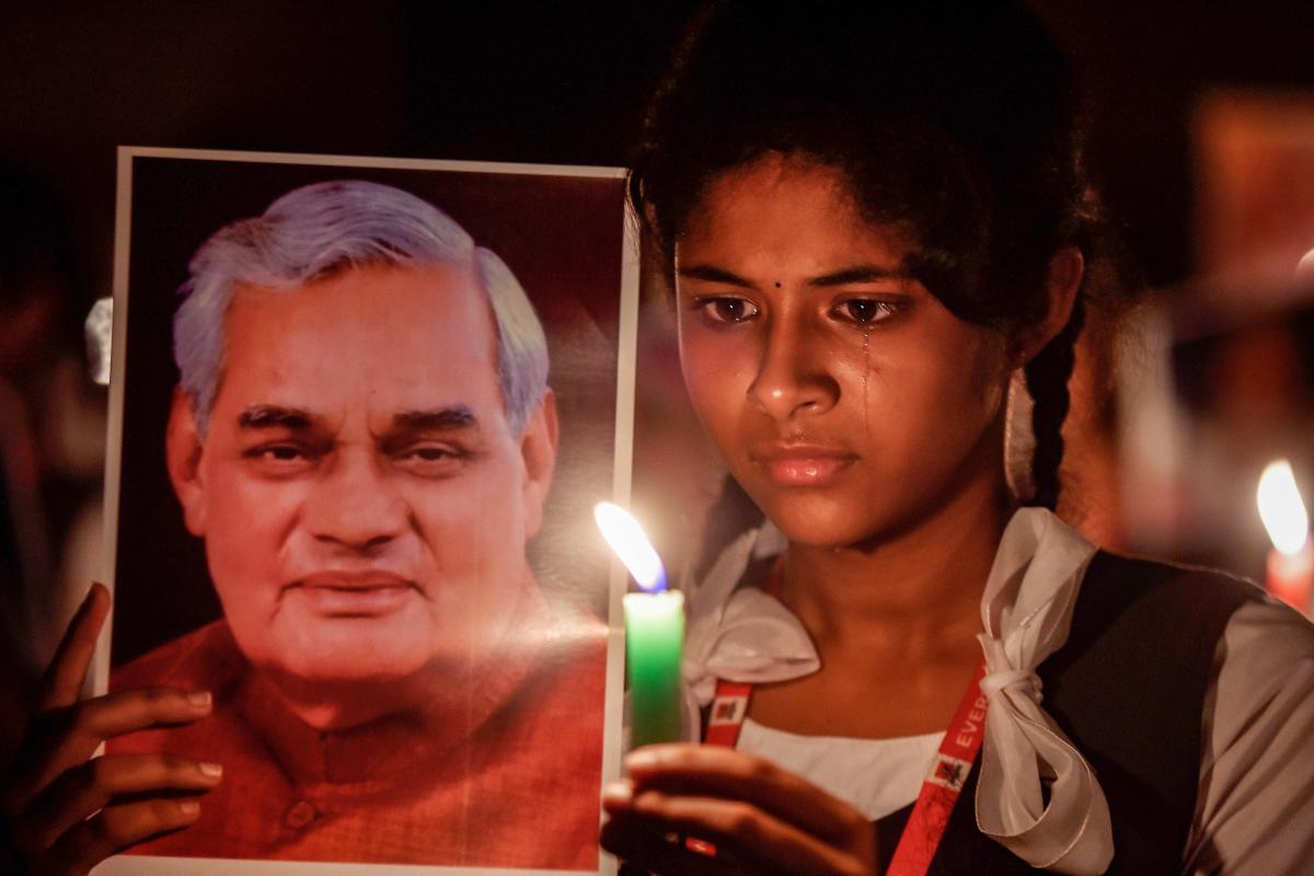 Students participate in a candlelight vigil to pay tribute to former prime minister Atal Bihari Vajpayee in Chennai on Thursday. PTI