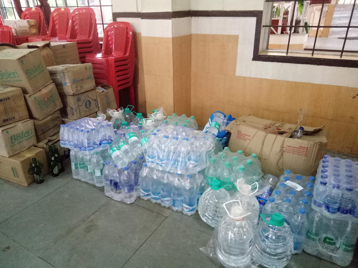 Relief materials collected by the Kodava Students' Association, in Mangaluru on Monday.