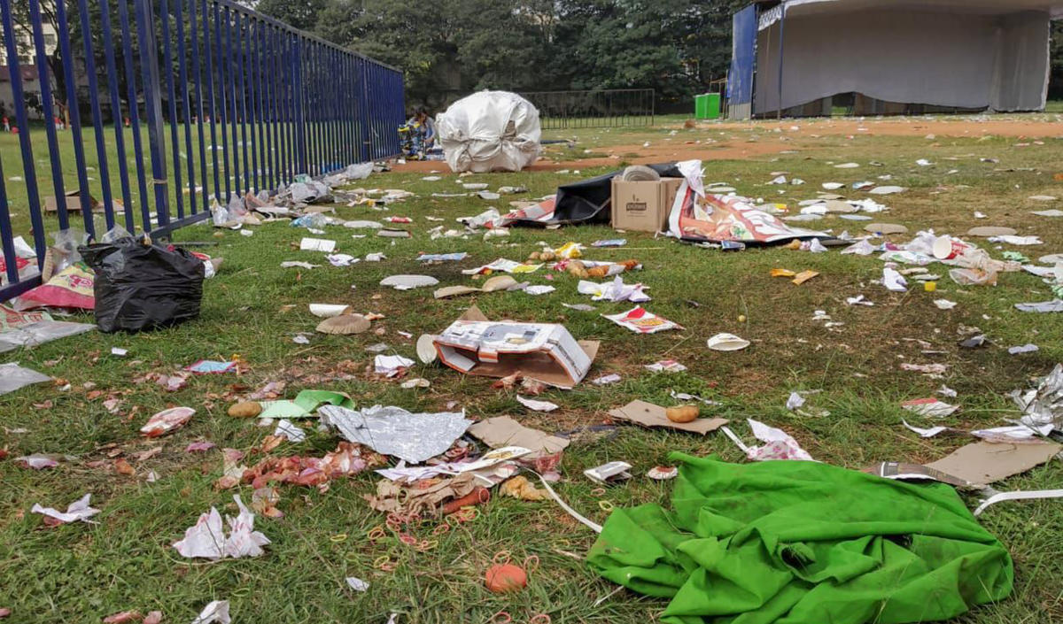 Liquor bottles, tobacco packets, and garbage were littered in the Central college ground, a day after the cultural event held by Gorkhali Helping trust on Tuesday.
