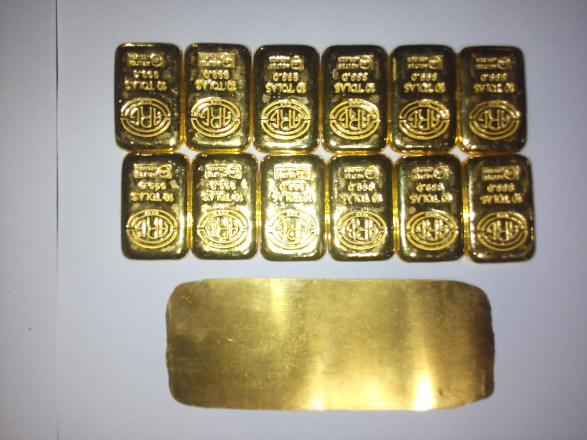 The gold bars and sheet seized from a passenger at Mangaluru International Airport.