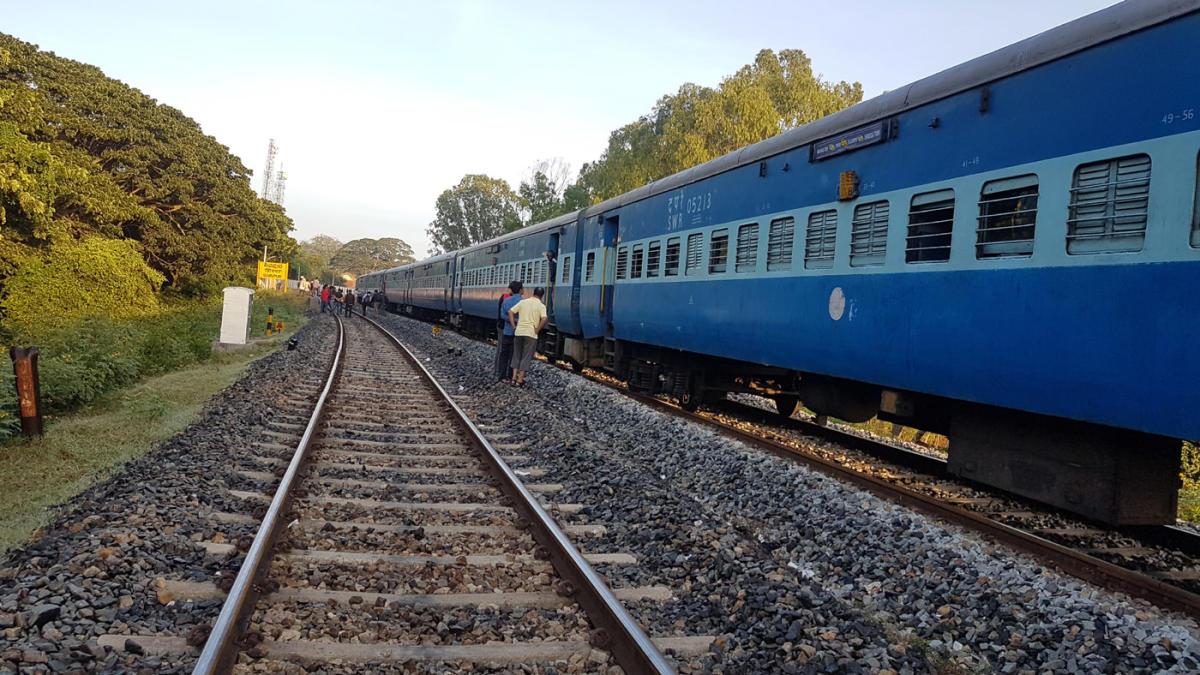 The Bengaluru-Talaguppa (Shivamogga) fast passenger was halted following a landslide at Haliyooru in Tarikere taluk.