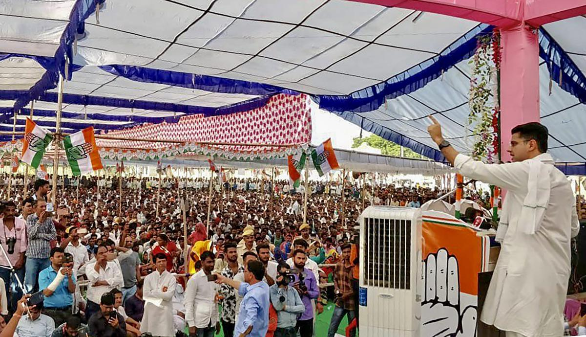 Rajasthan Congress President Sachin Pilot addresses a public rally in Sangodh, Kota district of Rajasthan, Tuesday, Oct 2, 2018. (PTI File Photo)