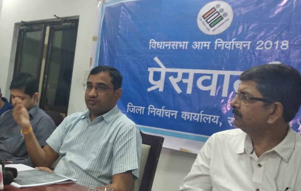 Raipur district Returning Officer and District Electoral Officer Dr Basavaraju S during a press conference on Sunday.