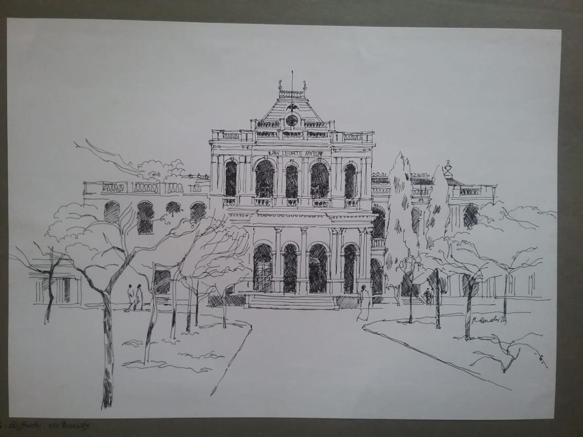 Pencil drawing of the Court Complex in Mysuru.