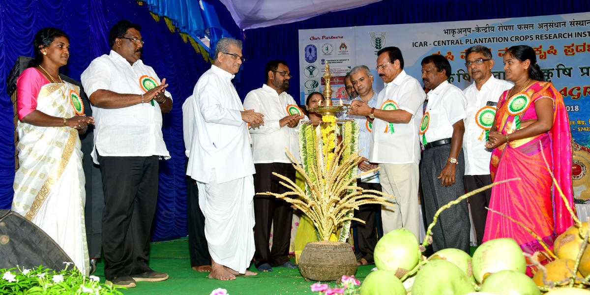 Union Minister for Statistics and Programme Implementation D V Sadananda Gowda inaugurates two-day Krishi mela and Agri expo organised by ICAR- CPCRI Research Centre at Kidu on Saturday.
