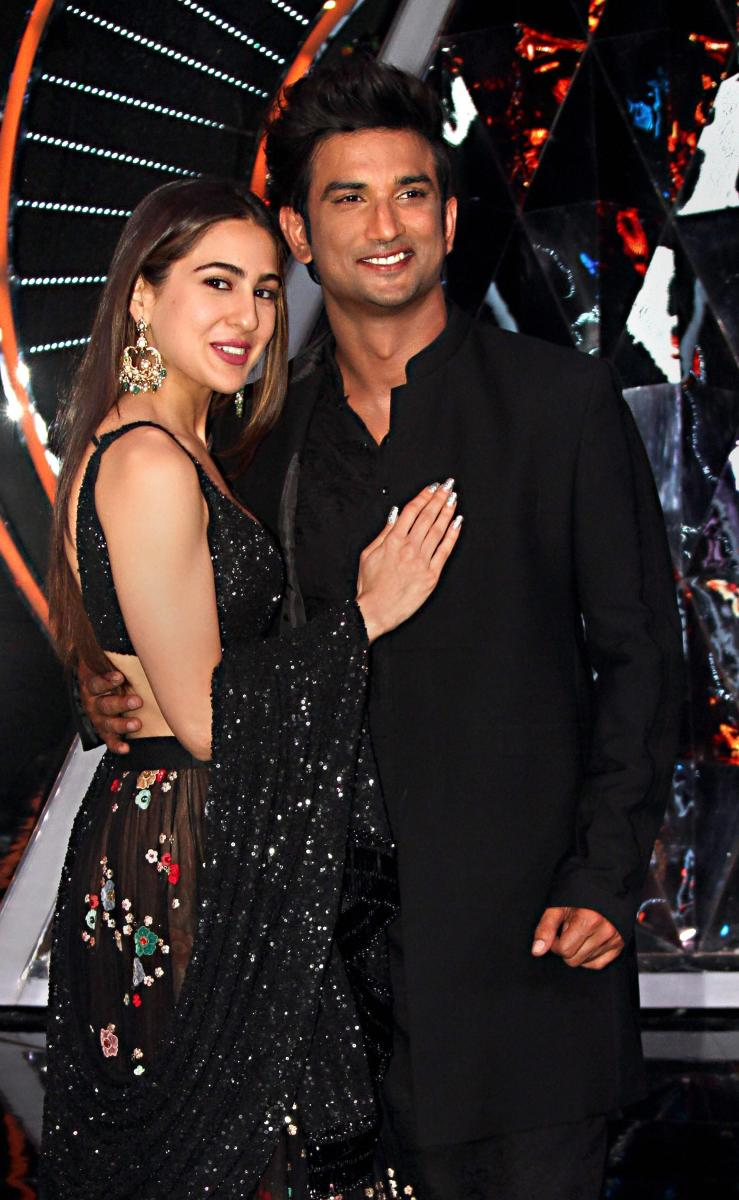 Bollywood actors Sushant Singh Rajput and Sara Ali Khan pose for a photograph during their film promotion 'Kedarnath'.
