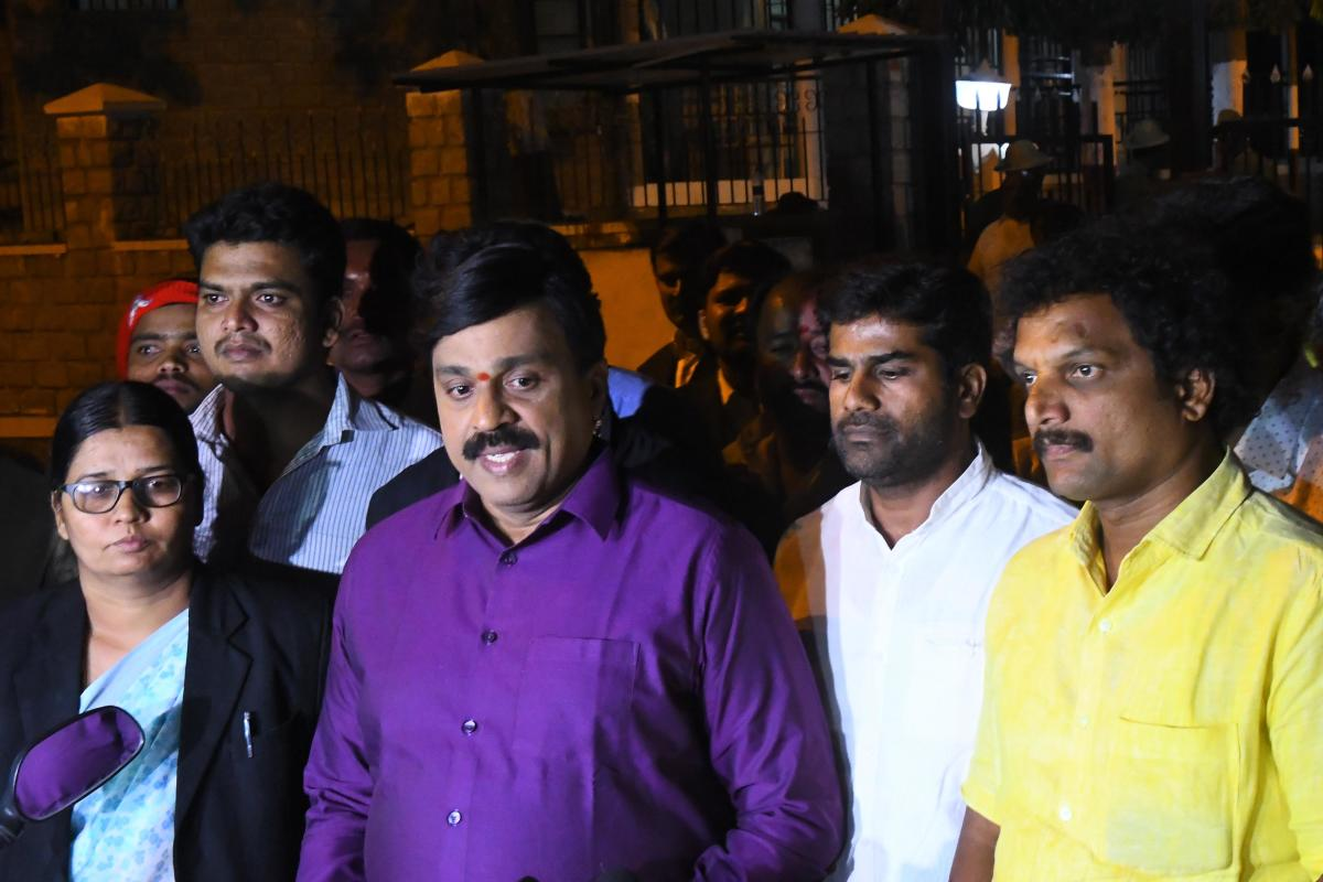 G Janardhana Reddy speaks to media after he was releasedfrom Parappana Agrahara Central Prison in Bengaluru onWednesday.