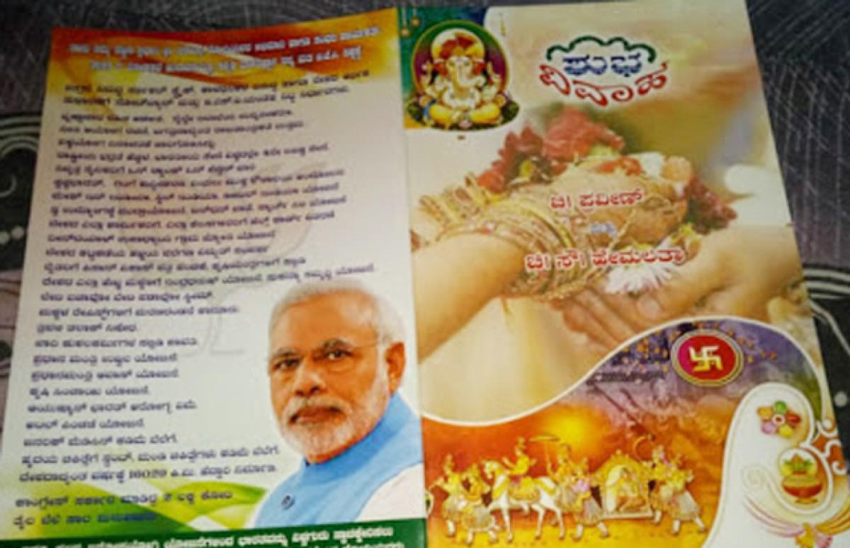 A marriage invite lists out the achievement of Prime Minister Narendra Modi.