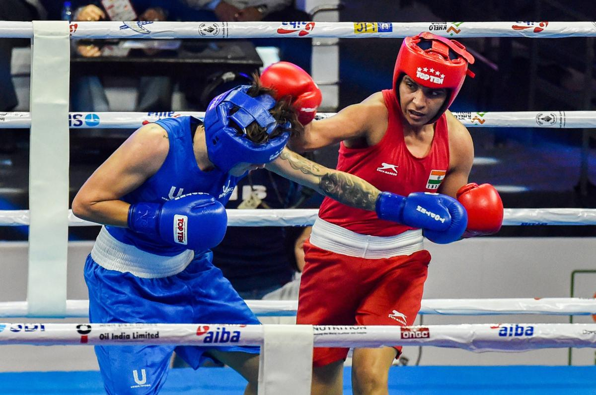 India's Simranjit Kaur (right) in action against Scotland's Megan Reid in the 64kg class of the World Boxing Championships in New Delhi on Monday. PTI