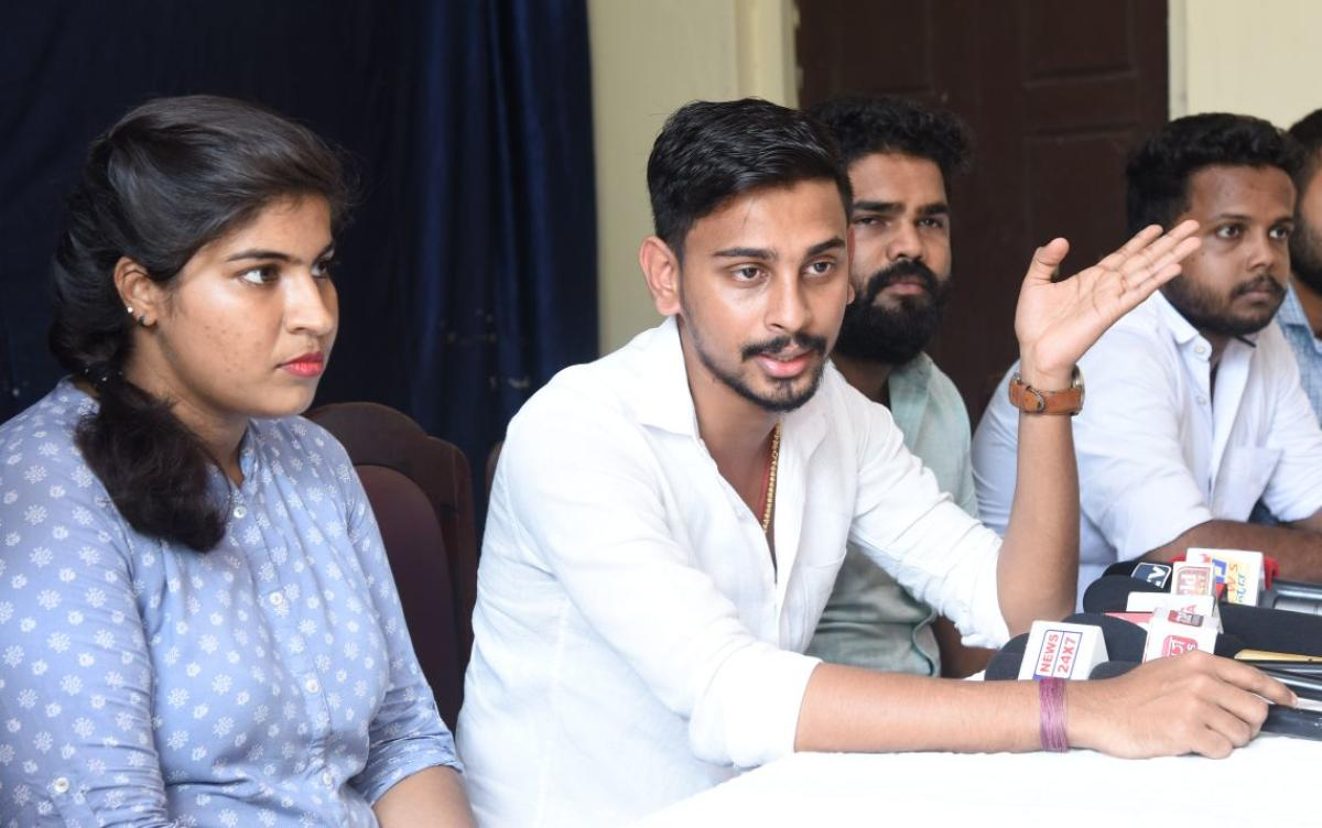 NSUI State General Secretary Roopesh Rai speaks to mediapersons in Mangaluru on Wednesday.
