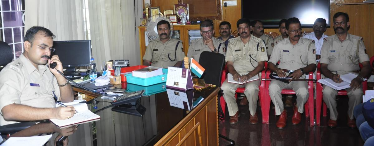 Superintendent of Police Lakshman Nimbargi during the phone in programme in Udupi on Friday.