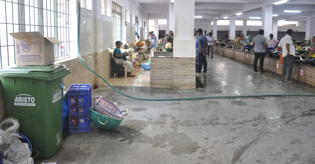 A view of hi tech fish market in Udupi.