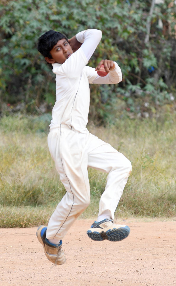 MAKING AN IMPACT: Left-arm spinner Hardhik Raj has been a prolific wicket-taker in the last couple of years in the U-14 and U-16 categories. DH Photo Srikanta Sharma R