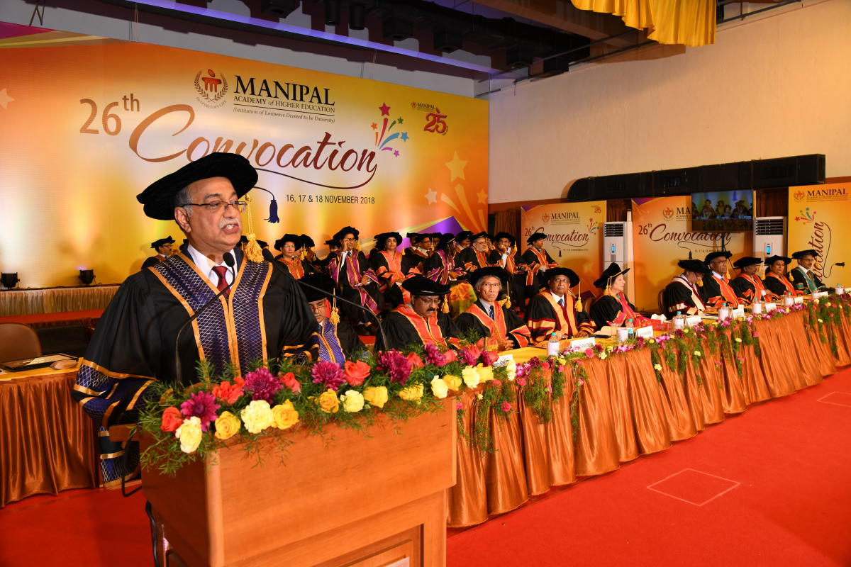 Health Enterprises Private Limited Chairman Dr H Sudharshan Ballal delivers convocation address at Manipal Academy of Higher Education, at Manipal on Friday.