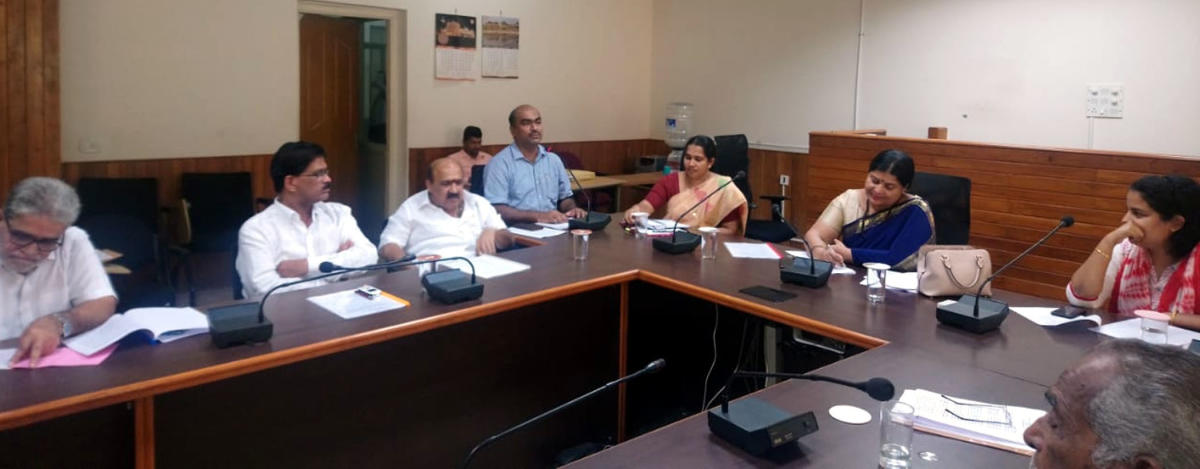 District In-charge Minister Jayamala discusses the rejuvenation of the Brahmavar sugar factory at a meeting at the deputy commissioner's office in Manipal on Saturday.