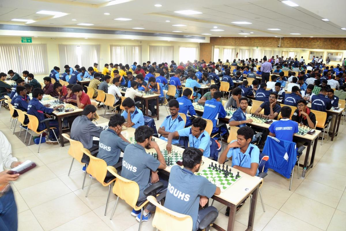 Players in action during the South Zone Inter-University Chess Tournament held at the Dr T M A Pai Hall in Manipal on Tuesday.