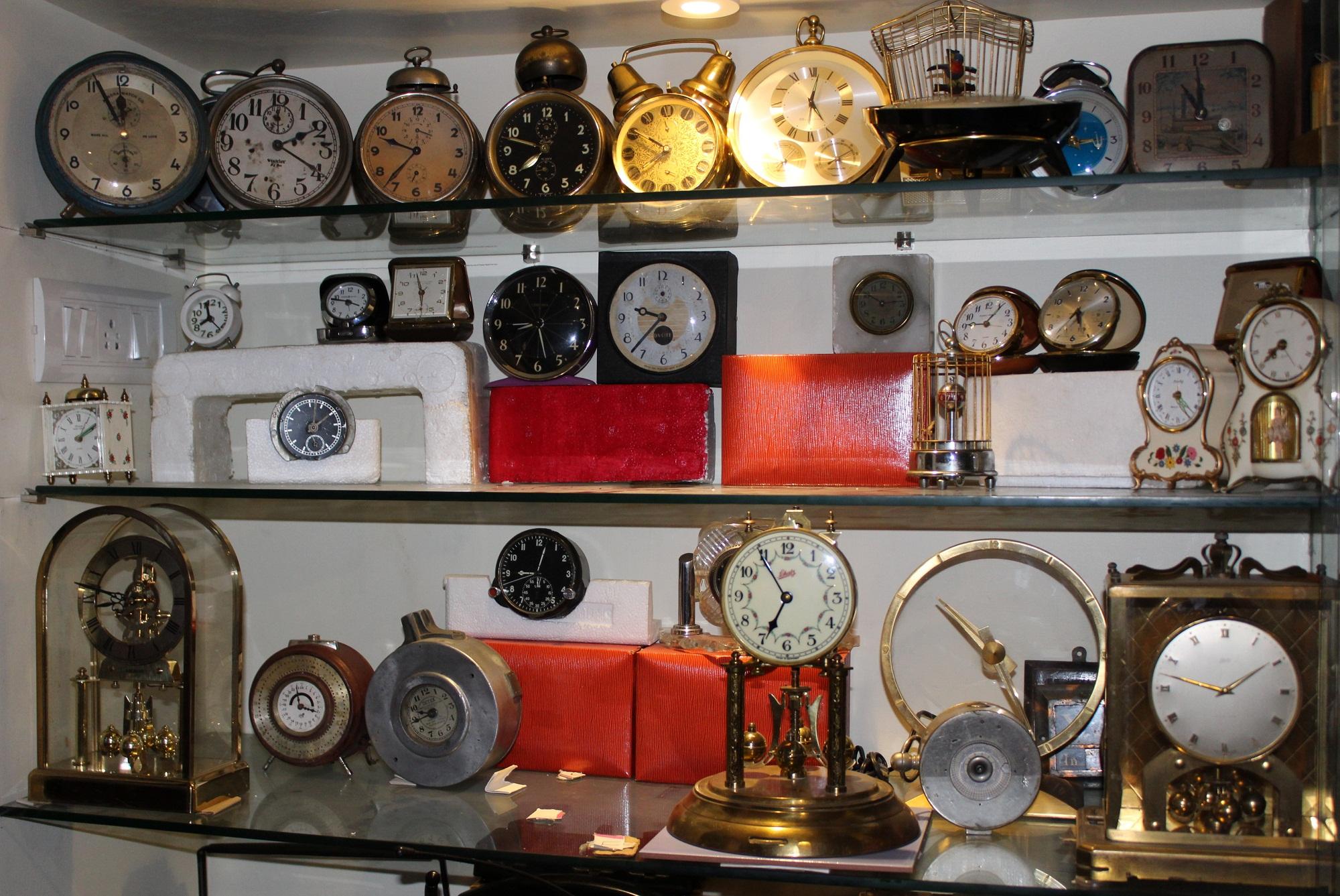 Chandrashekar collects vintage clocks. These require regular maintenance.