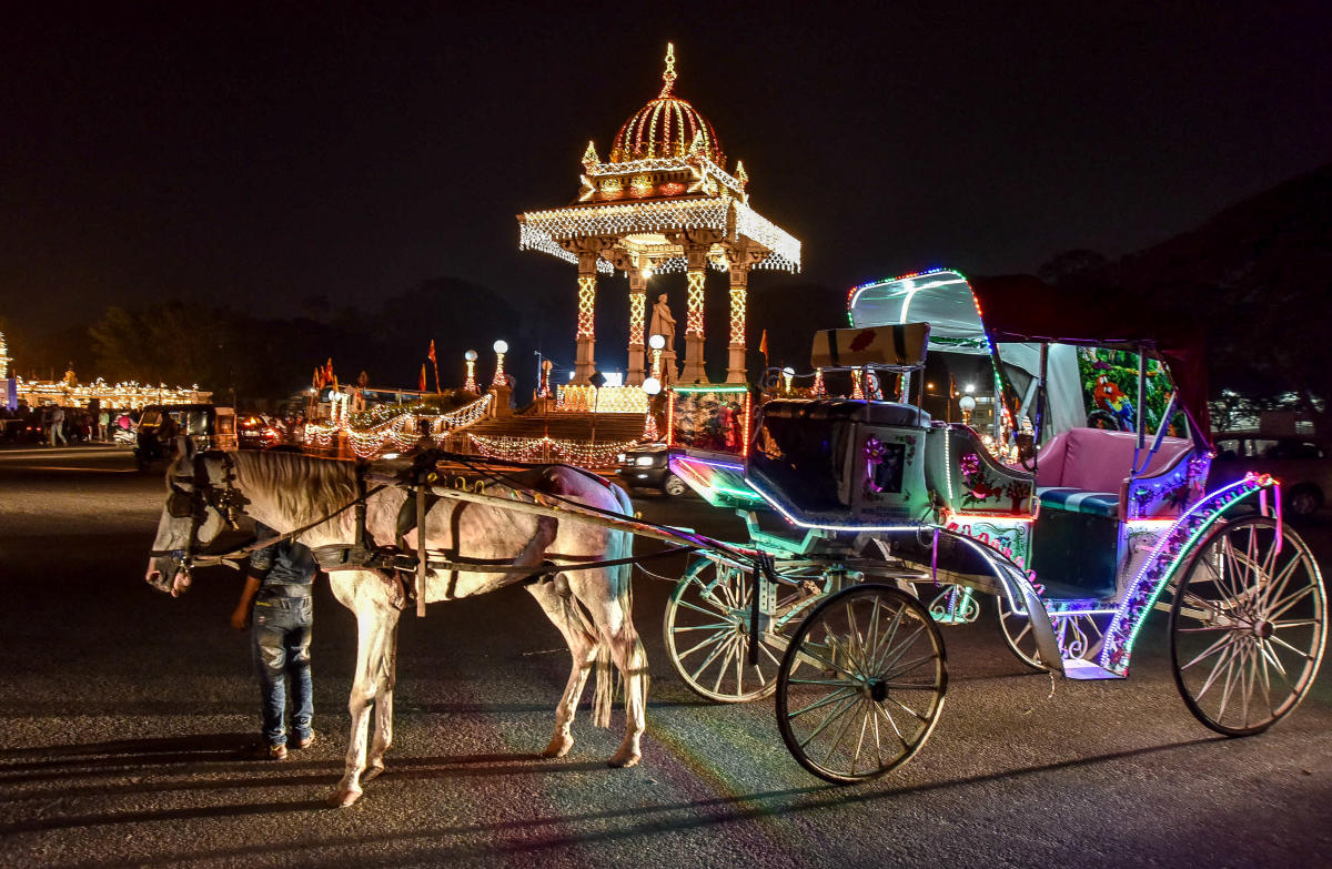 Brace for heritage ride: An illuminated tonga waiting for tourists to take them for a heritage ride, at Chamaraja Circle in Mysuru. Dh-File photo