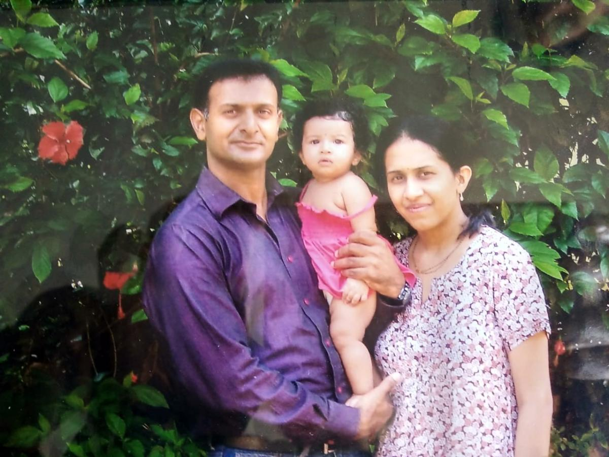 Lt Col C N Nanjappa with wife Nayana and daughter Neha. Nanjappa was on the China border when his helicopter crashed.