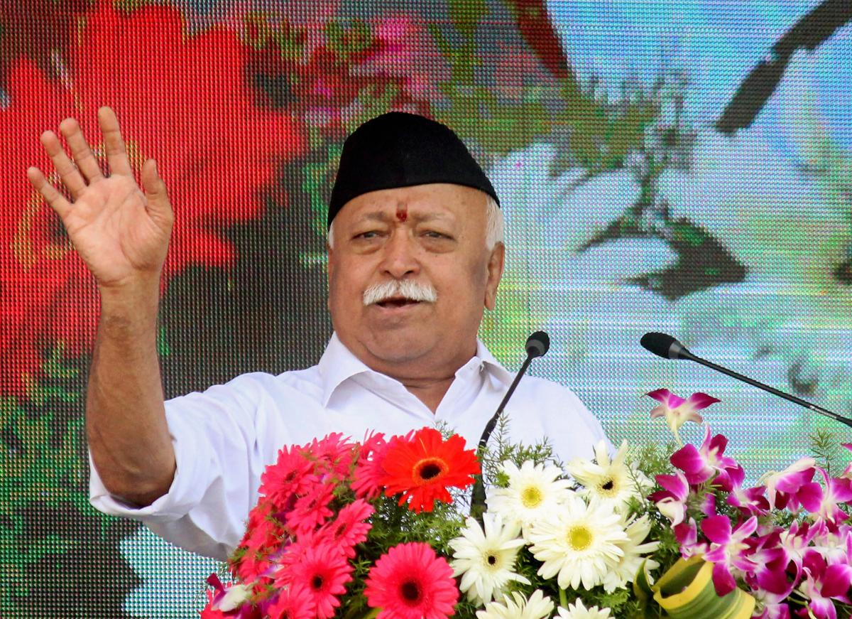 RSS chief Mohan Bhagwat addresses the Vijay Dashmi function at RSS headquaters in Nagpur, Maharashtra. PTI