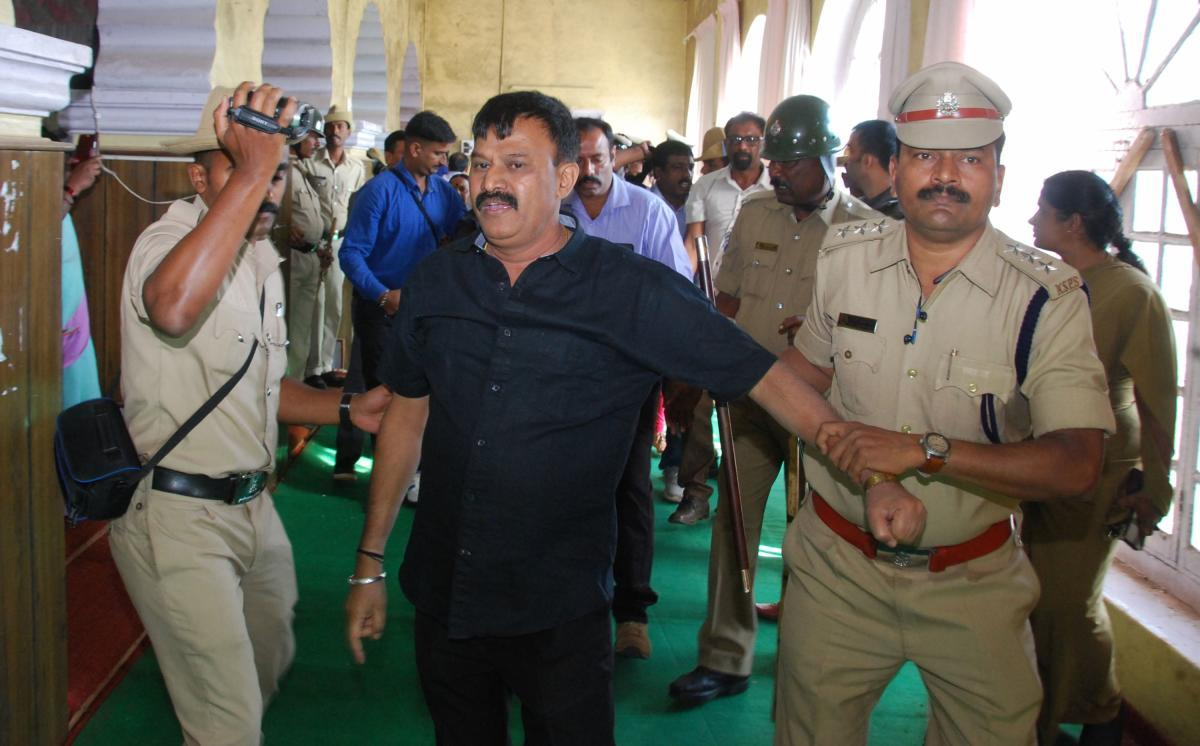 MLC Sunil Subramani was detained by the police.