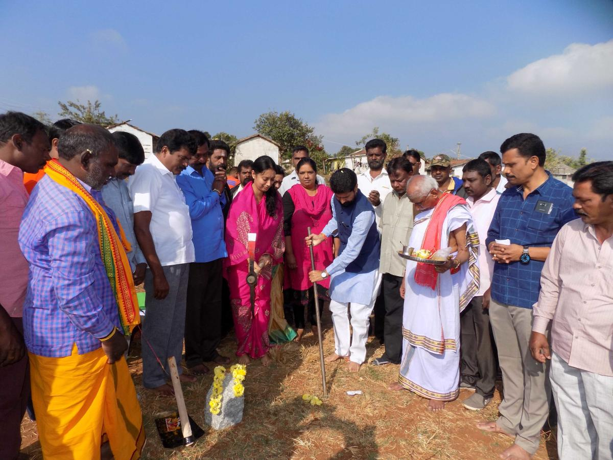MLA C T Ravi takes part in the groundbreaking ceremony of the construction of houses for civic workers.