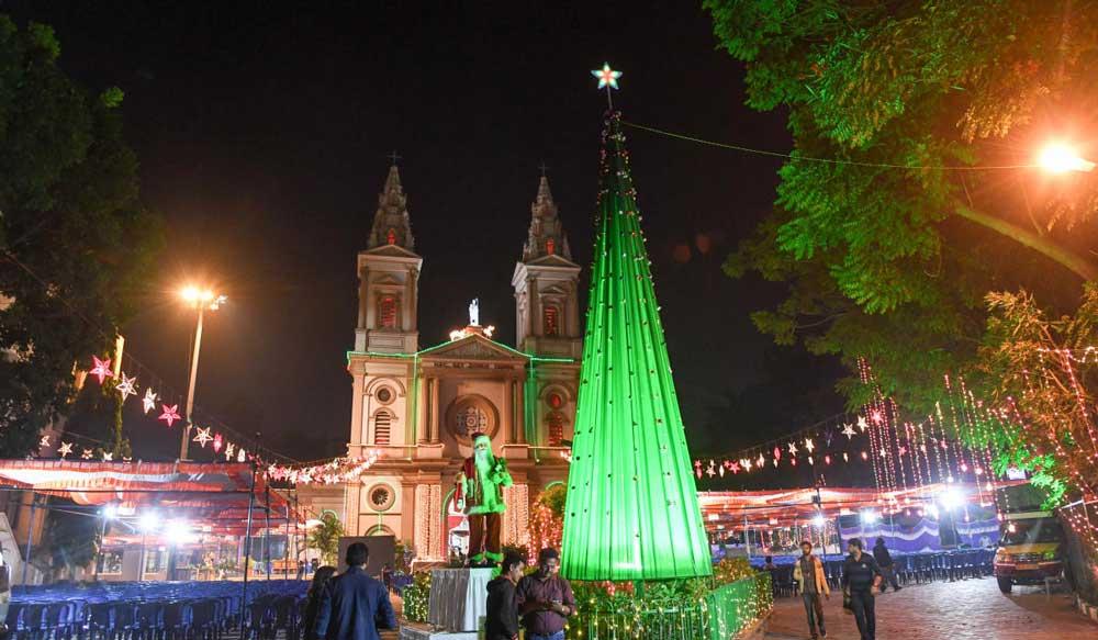 The all illuminated St. Patric church on Christmas eve, at Shanthala Nagar, in Bengaluru on Monday. DH Photo/ B H Shivakumar