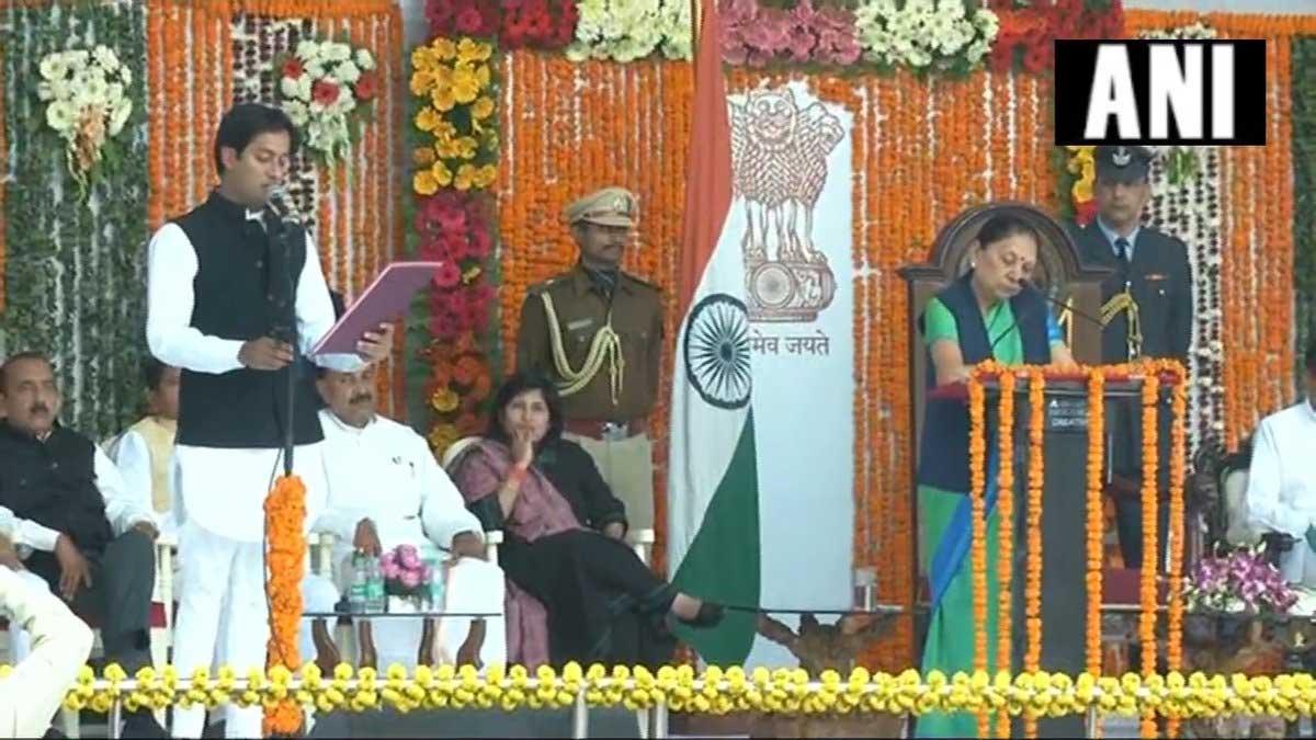 Jaivardhan Singh, son of Digvijaya Singh takes oath as minister in Bhopal. ANI photo